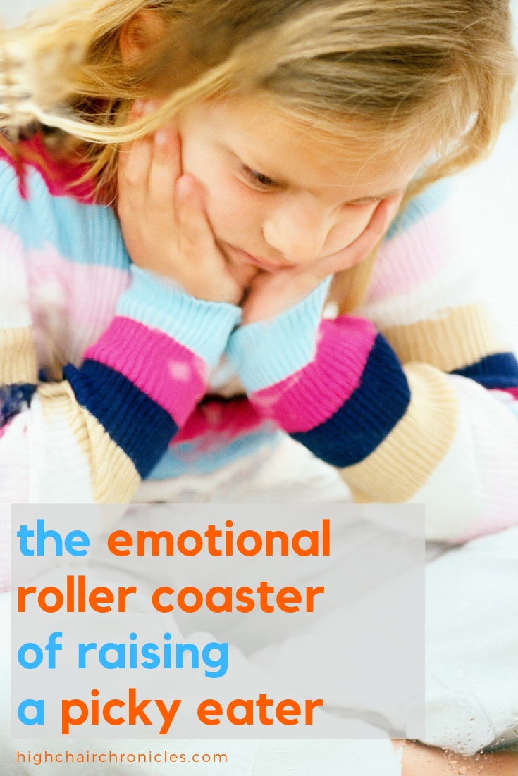 "pinterest image of ""emotional roller coaster of raising a picky eater"""