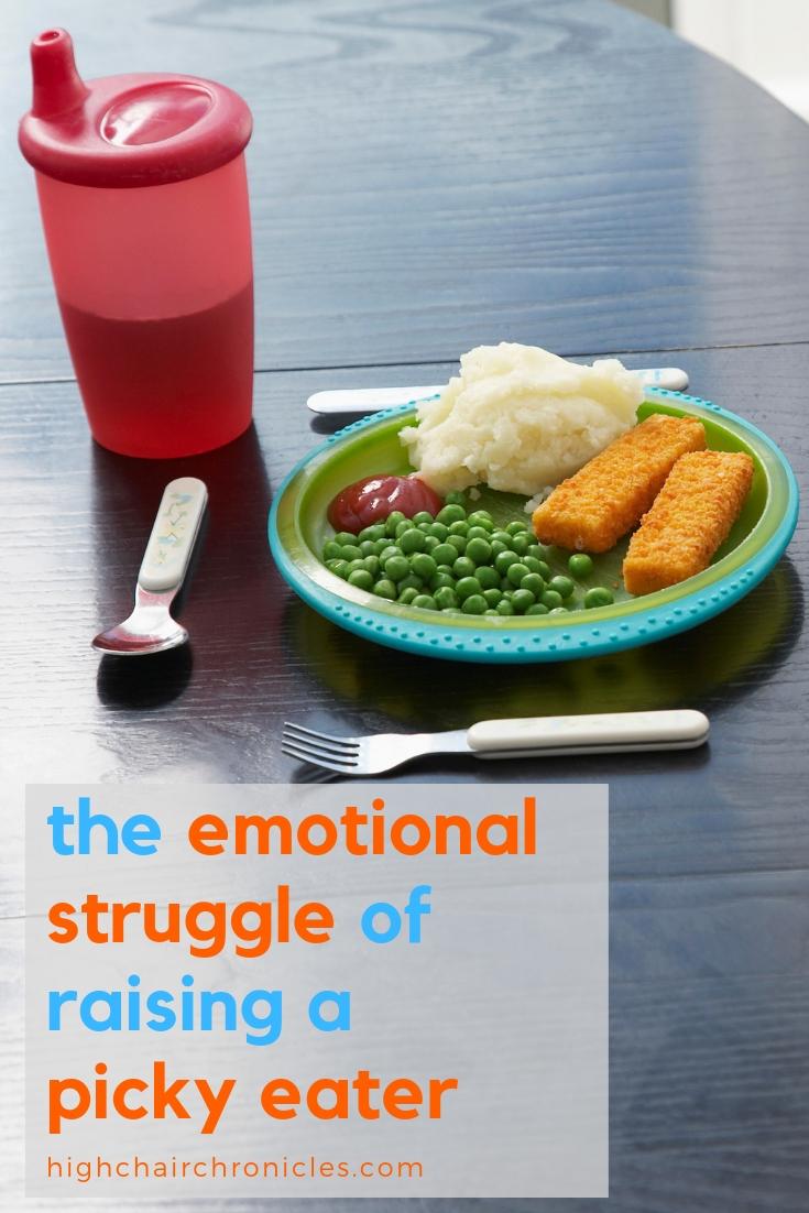 "pinterest image of ""emotional struggle of raising a picky eater"""