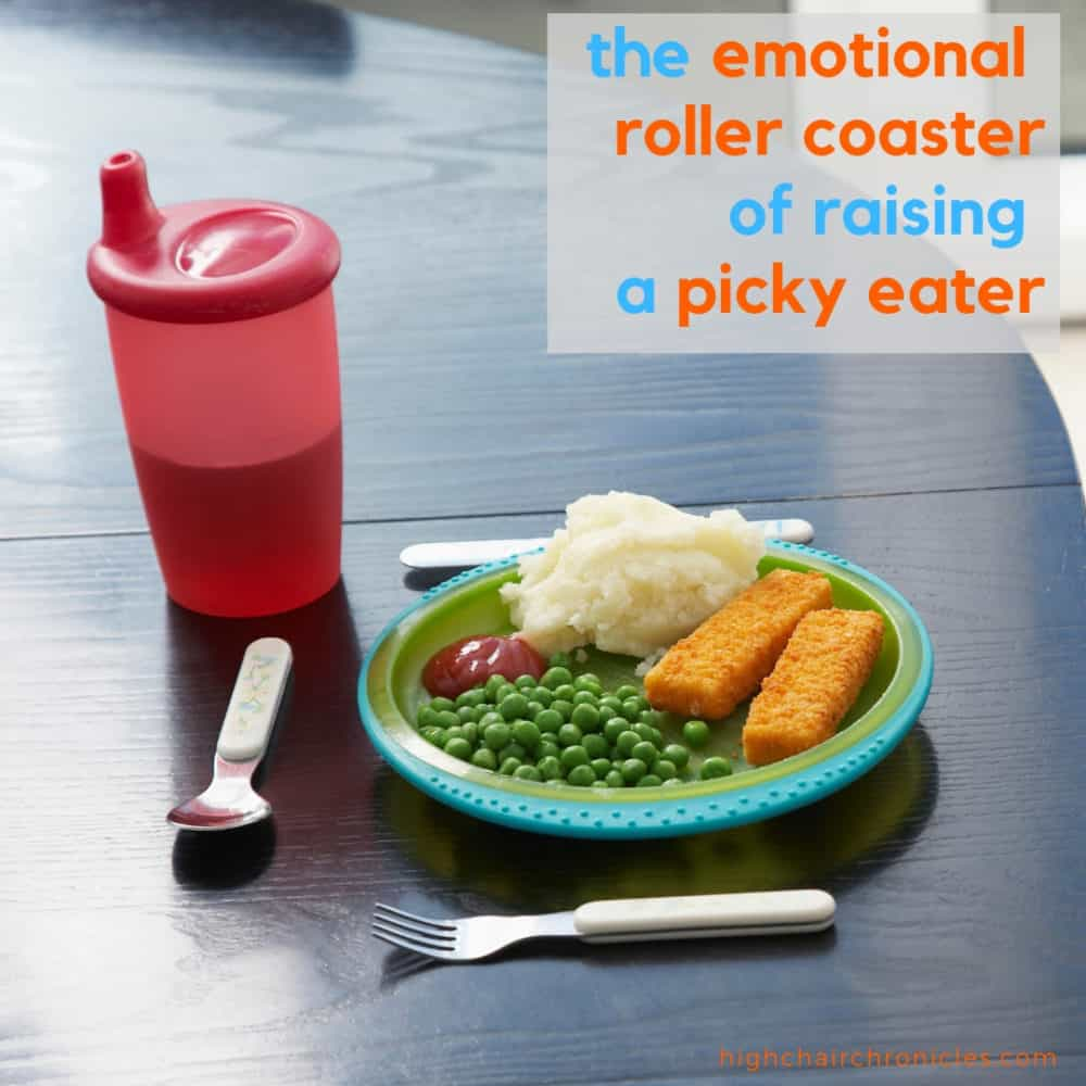 """square image of """"emotional roller coaster of raising a picky eater"""""""