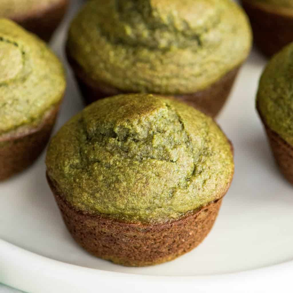 image of green spinach banana muffins
