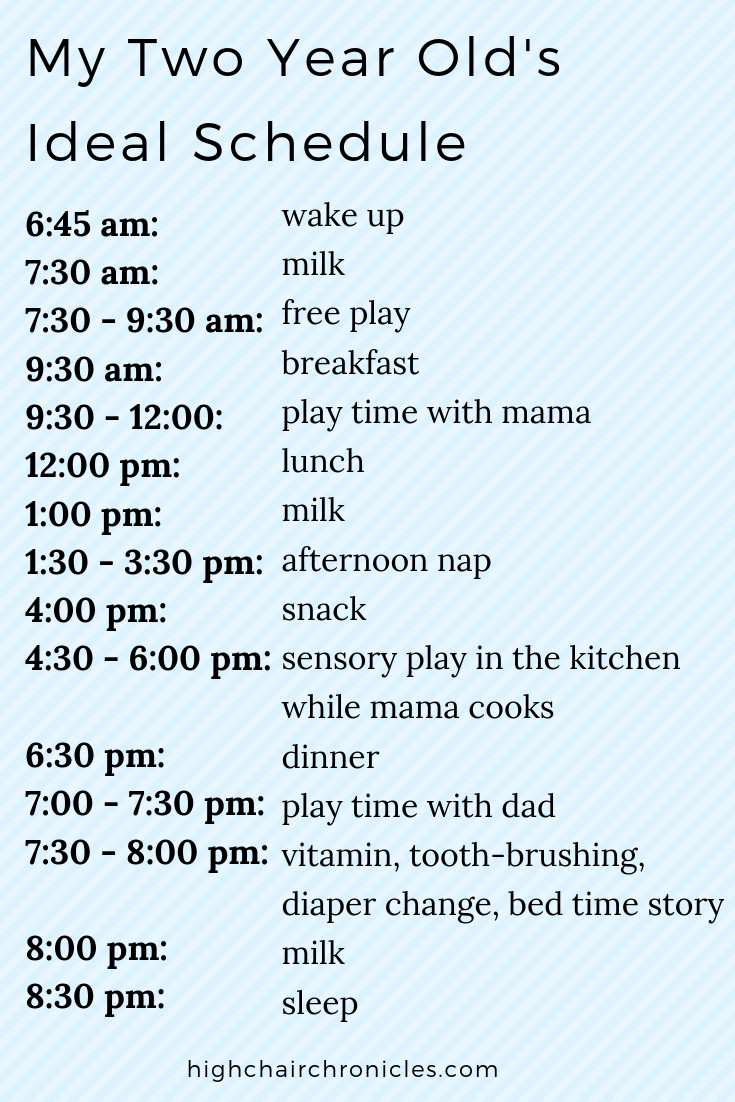 ideal schedule for a 2 year old