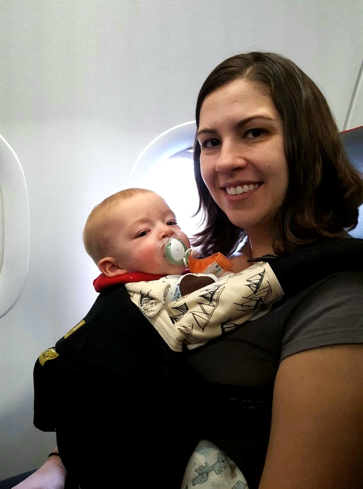 image of baby on airplane