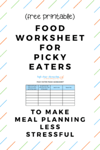 free printable picky eater food worksheet pinterest image