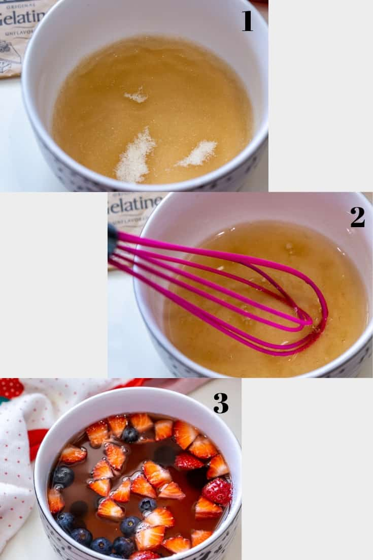 collage of how to make jello with fruit
