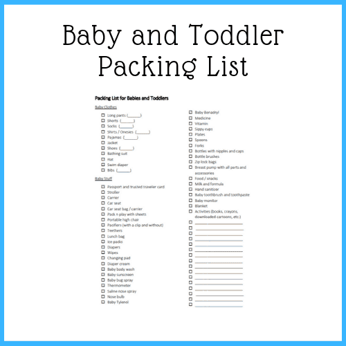 free printable - baby and toddler packing list