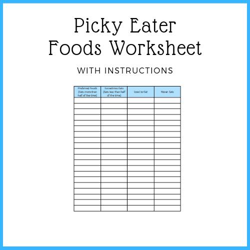 free printable - picky eater foods worksheet