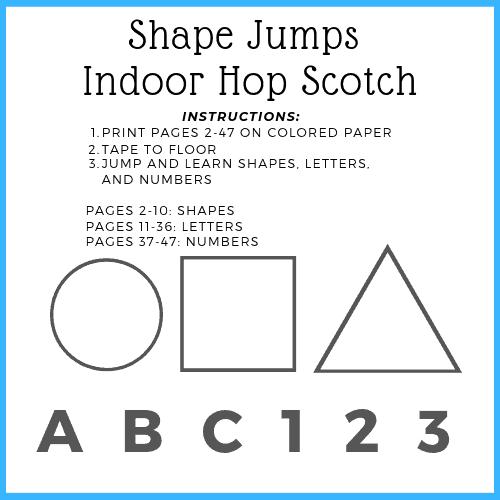 free printable - indoor hop scotch toddler activity