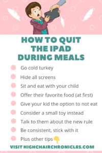 graphic of parenting tips: how to quit screen time during meals