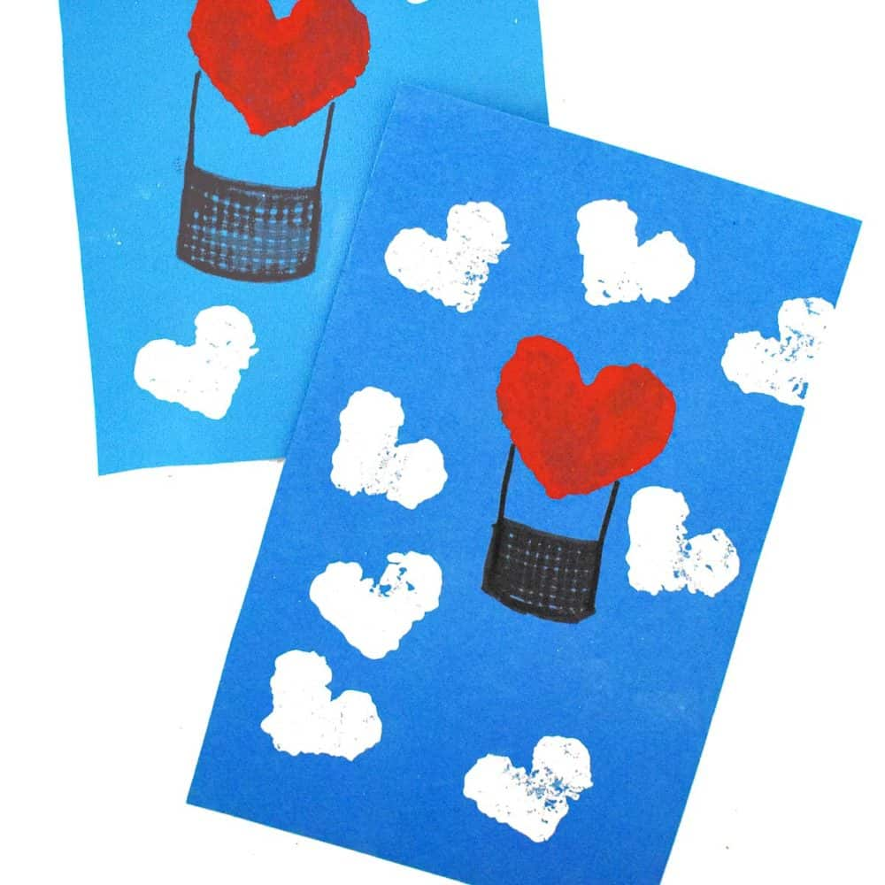 hot air balloon Valentine's Day craft for toddlers