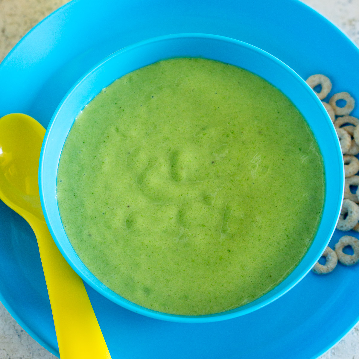bowl of green baby food