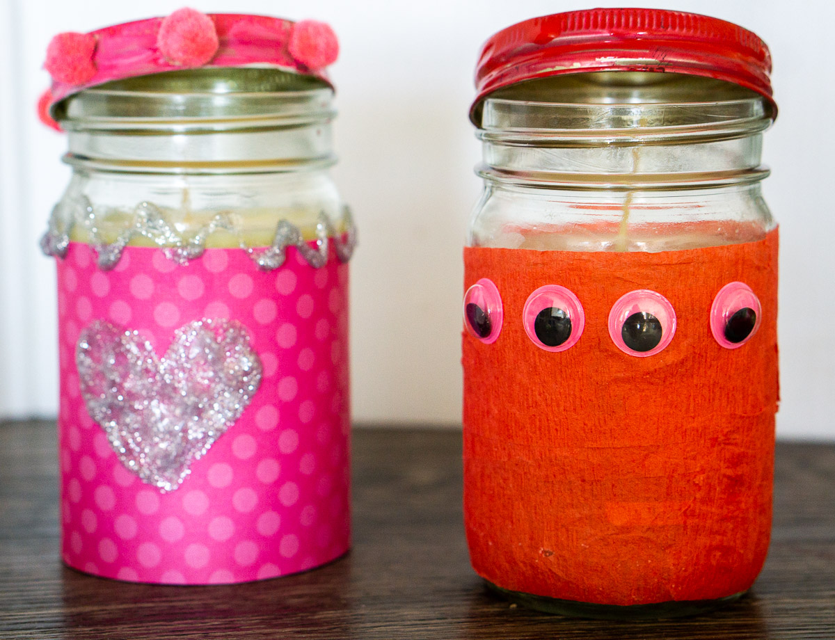decorated candles for a preschool valentine's day candle craft