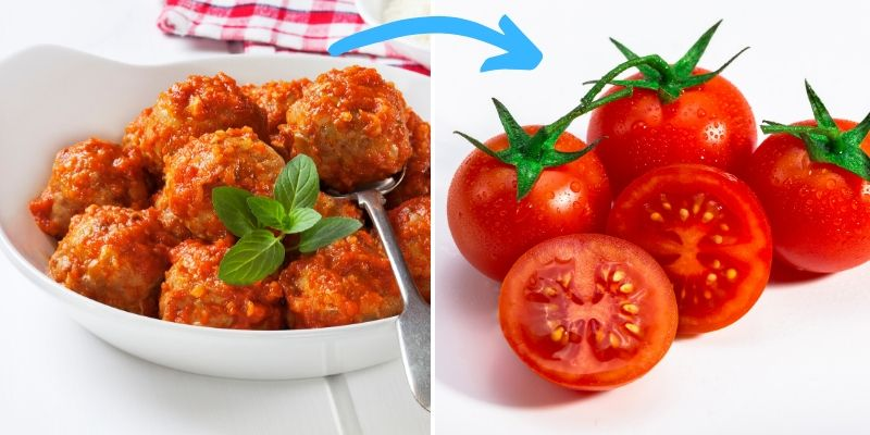 food chaining graphic - meatballs to tomatoes