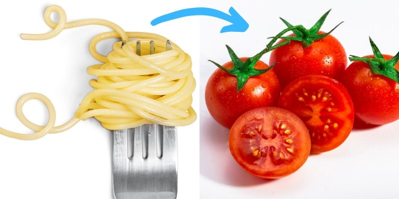 food chaining graphic - pasta to tomatoes