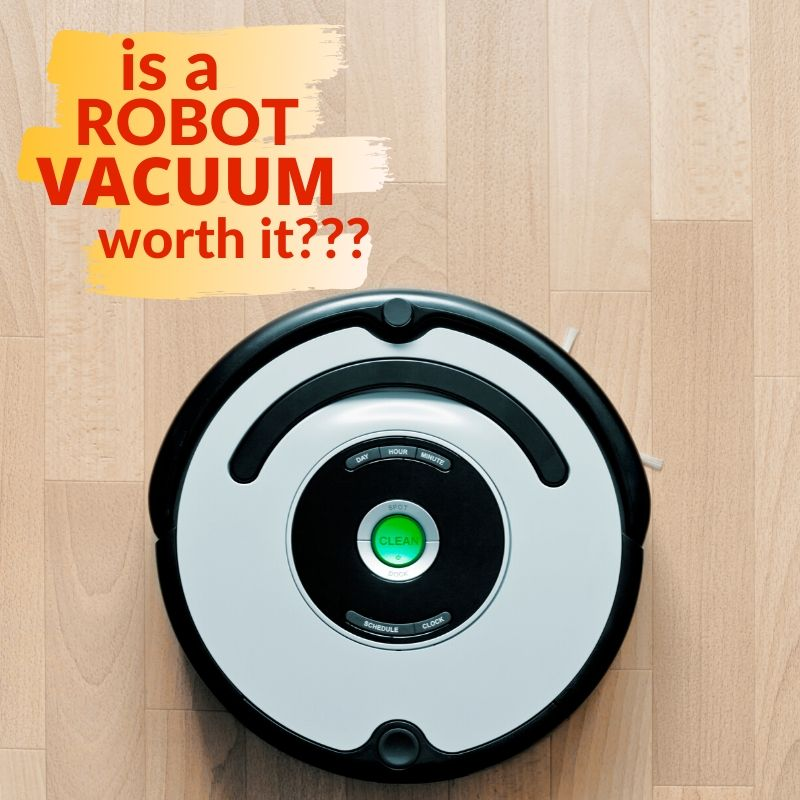 graphic with a robot vacuum on it