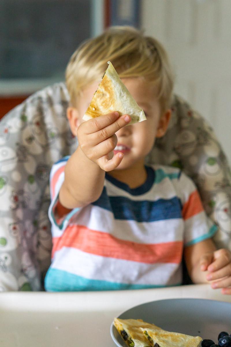 toddler holding mini quesadilla