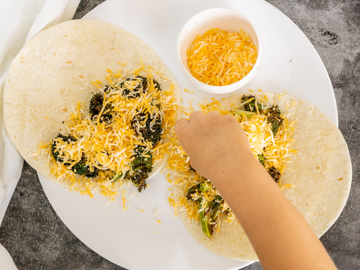 making mini quesadillas - cooking with toddlers