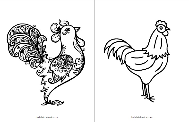free printable coloring page for toddlers - rooster
