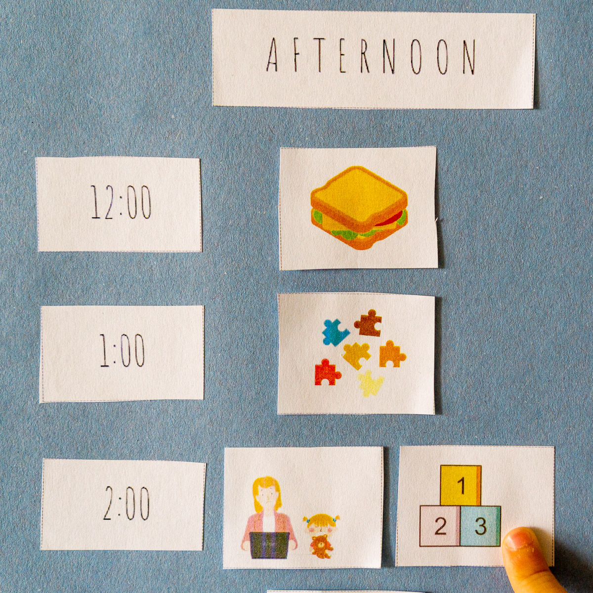 example of toddler printable schedule in use