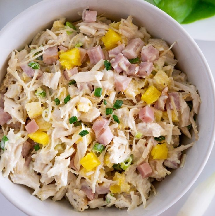 hawaiian chicken salad with pineapple in a bowl