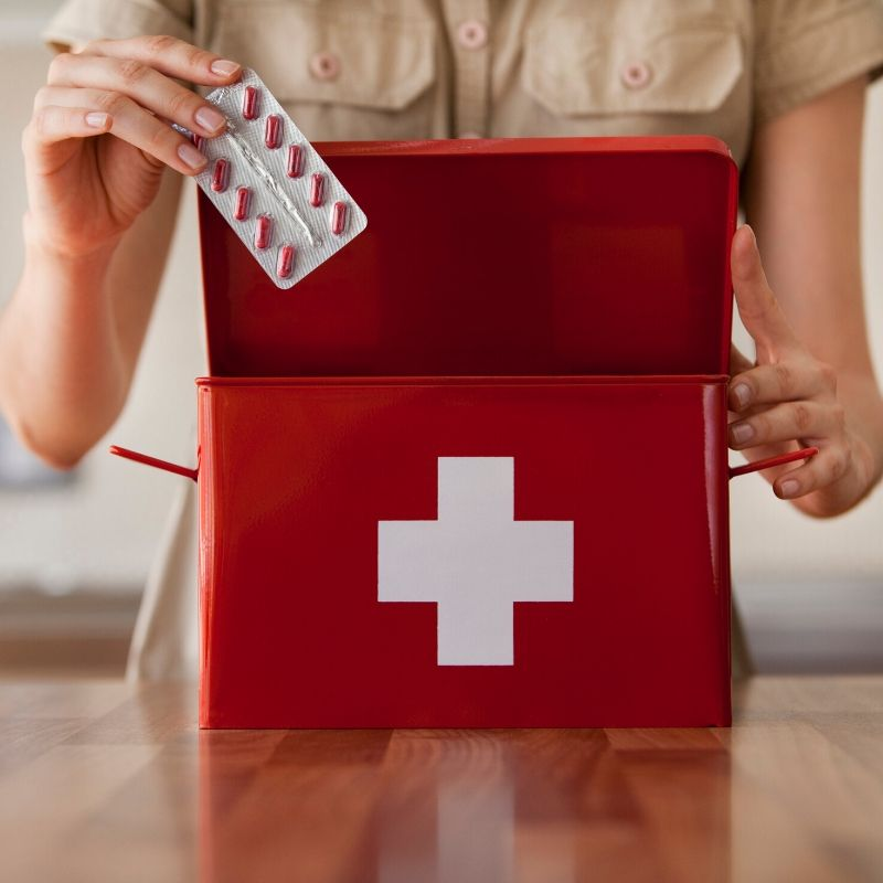 preparing a first aid kit