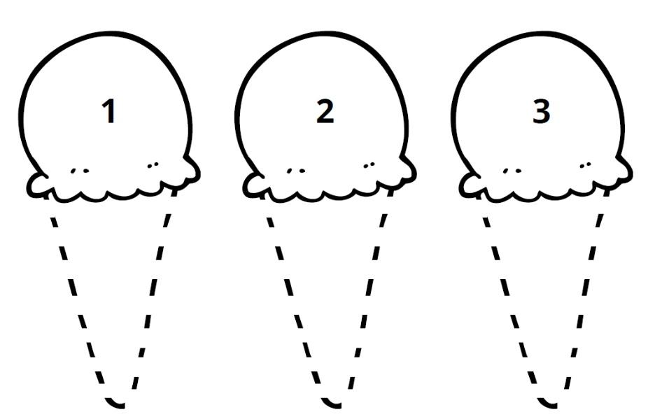 picture of 3 ice cream cones