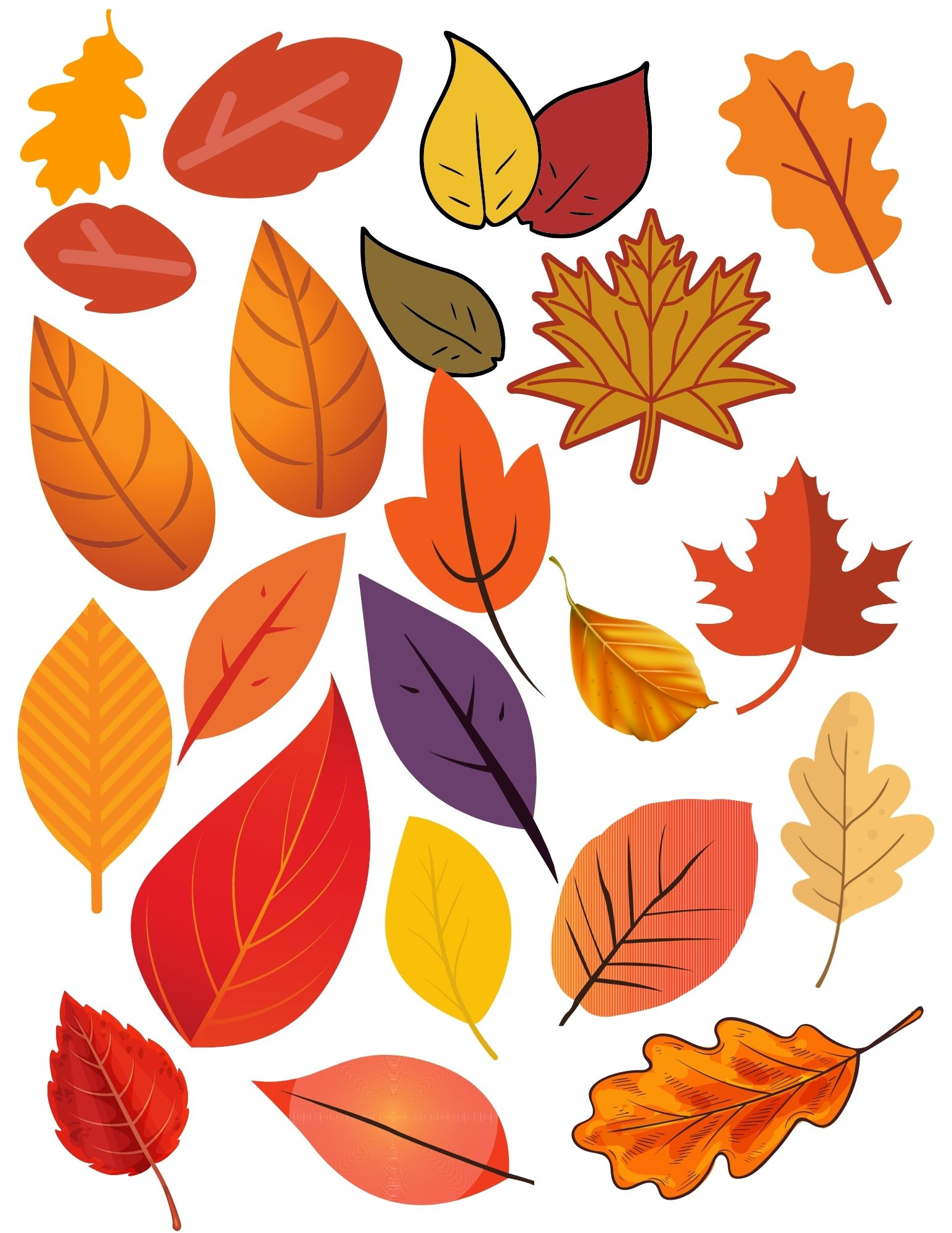page of printable fall leaves toddler craft