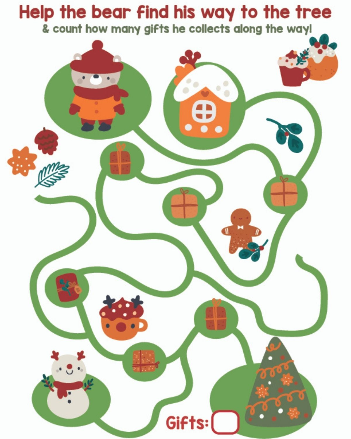 Christmas themed toddler maze