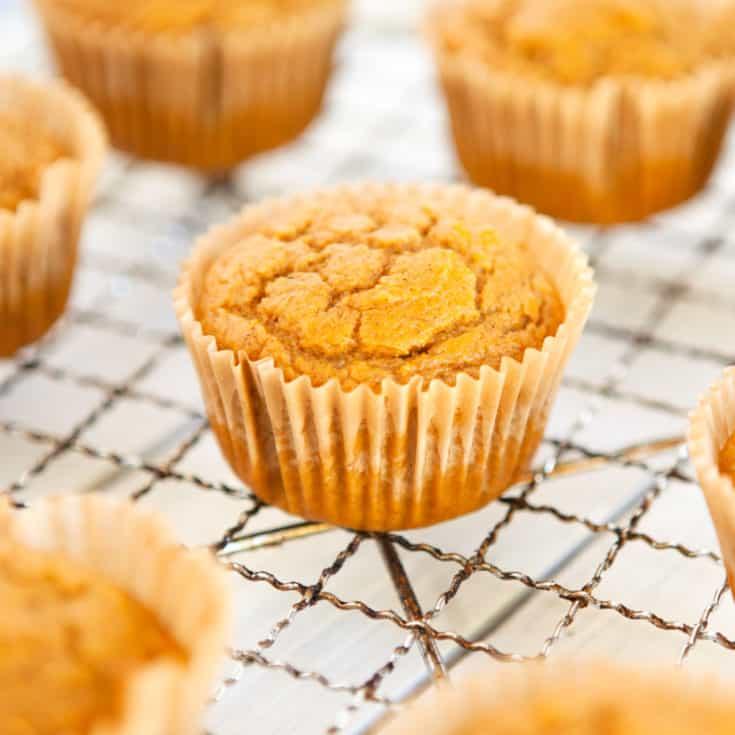 pumpkin muffins on a cooling rack