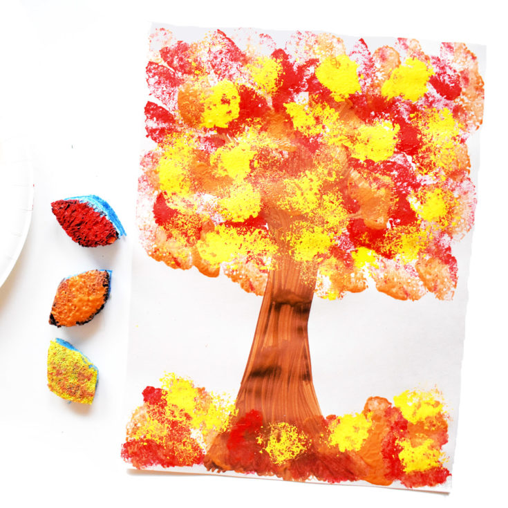 picture of sponge-painted tree - a Fall sensory activity for toddlers