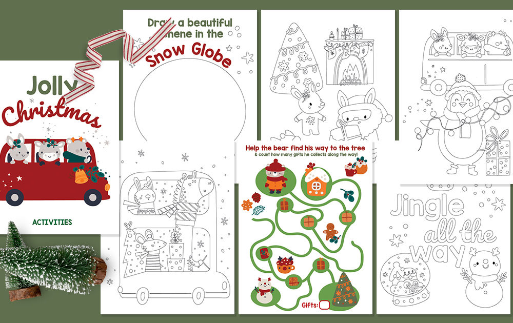 collage of christmas activity sheets for toddlers