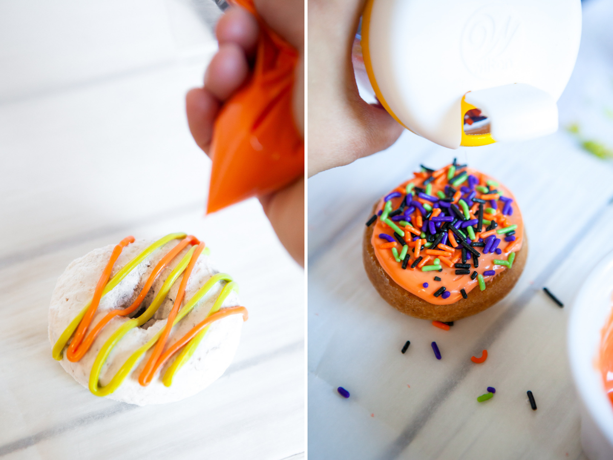 collage of photos for how to make monster donuts