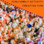 pinnable image of monster popcorn halloween recipe toddler activity and sensory activity