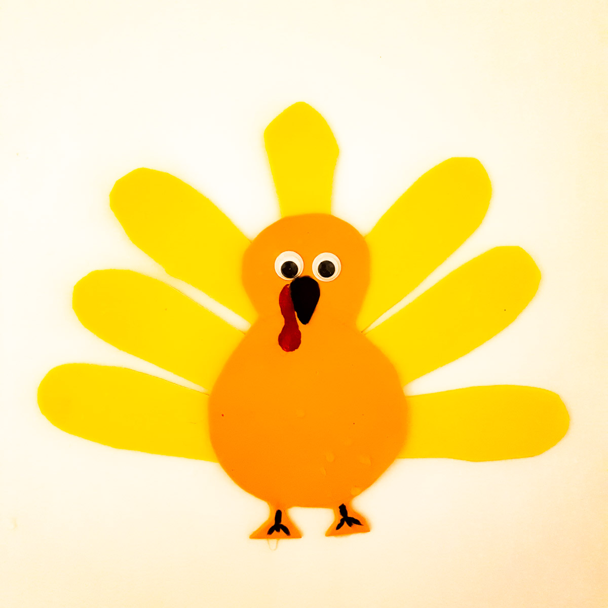turkey craft for toddlers made from cutout foam shapes