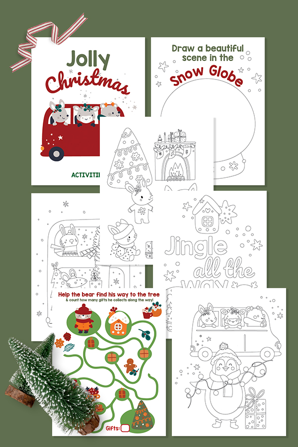 collage of free printable christmas activities for toddlers