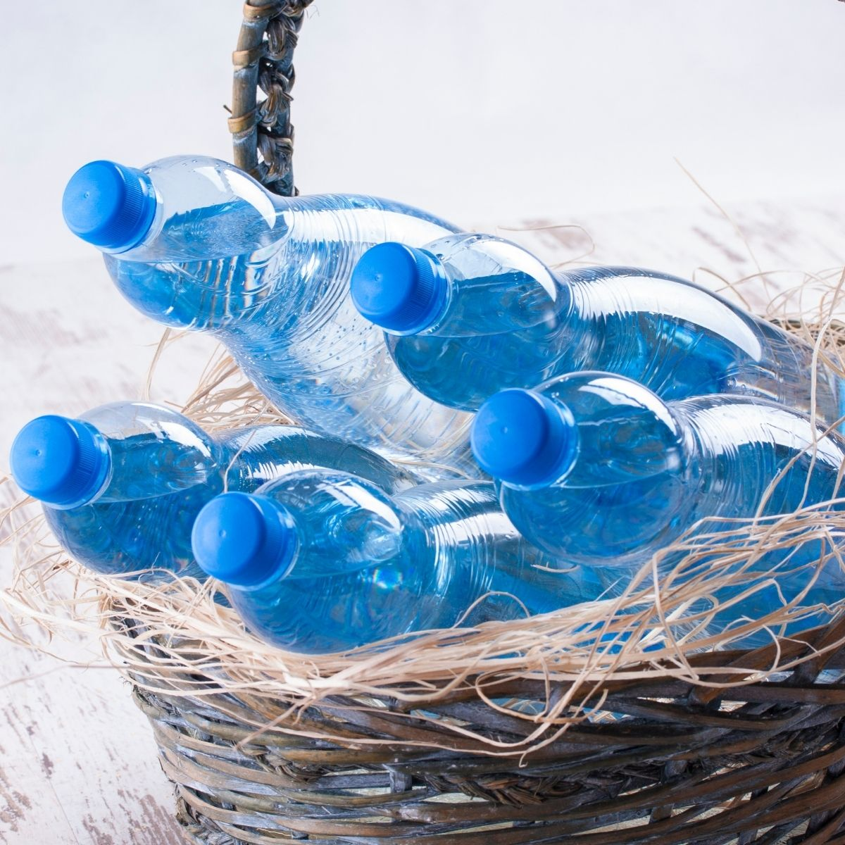 basket with water bottles