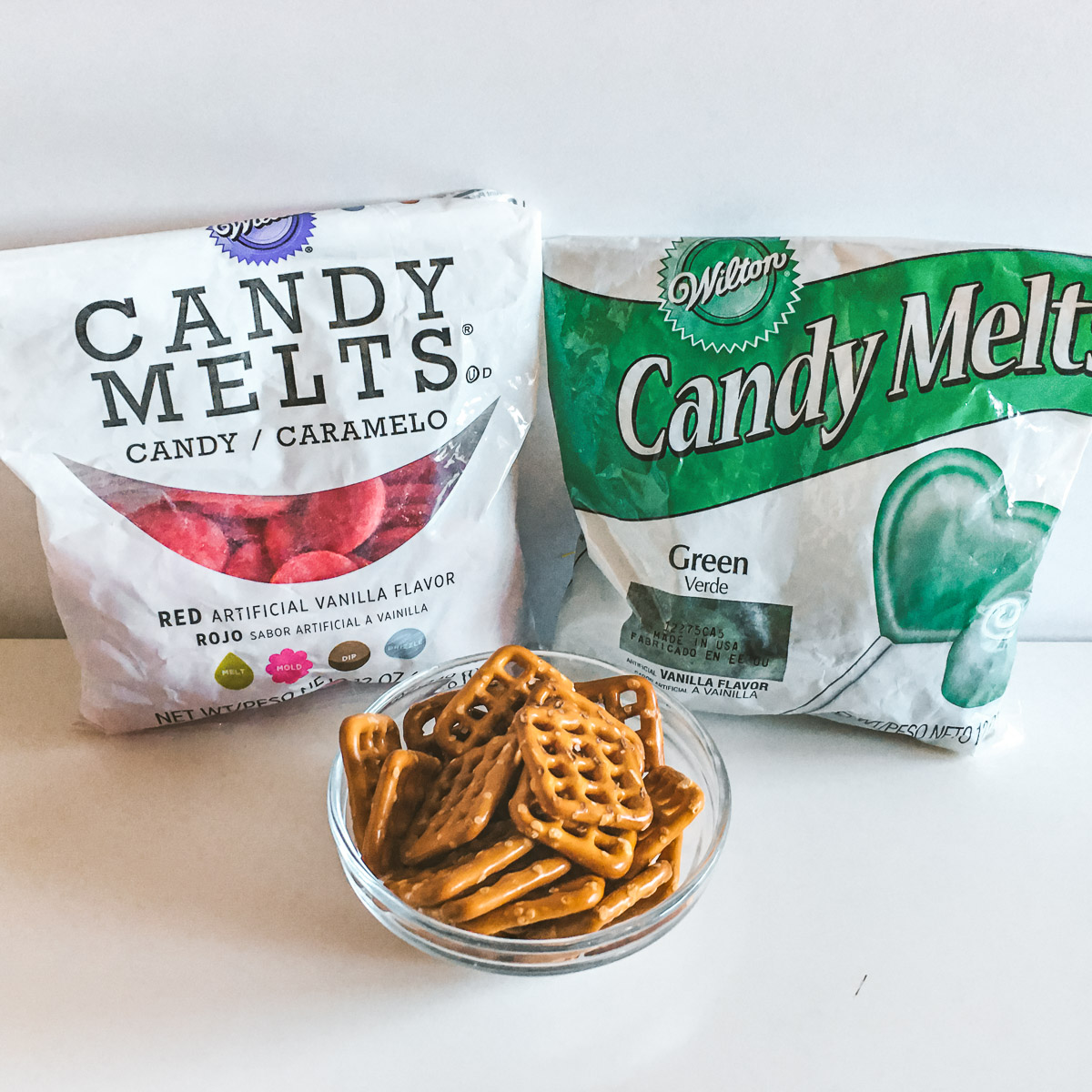 square pretzels and 2 bags of candy melts