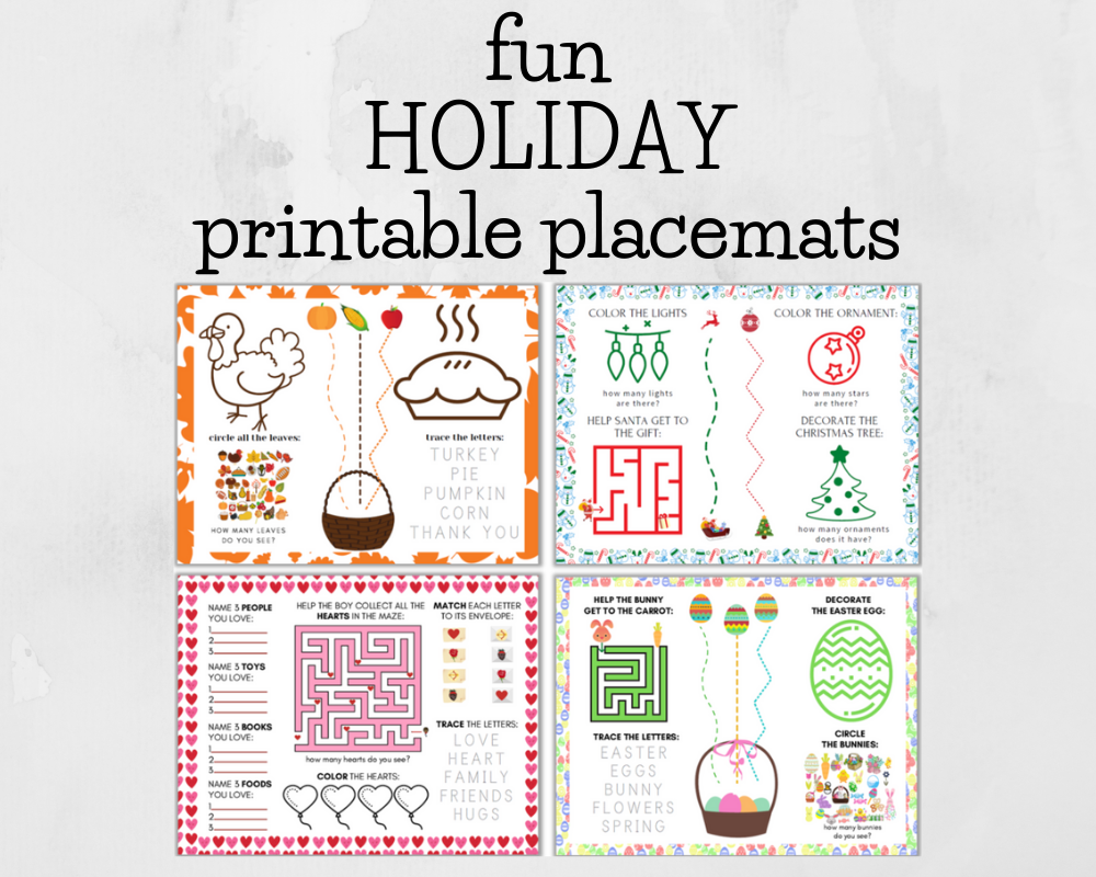 collage of printable holiday placemats for toddlers