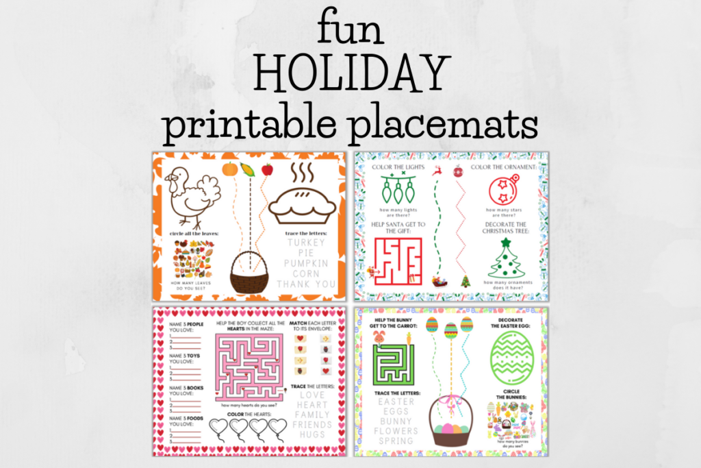 graphic of holiday placemats for toddlers and preschoolers