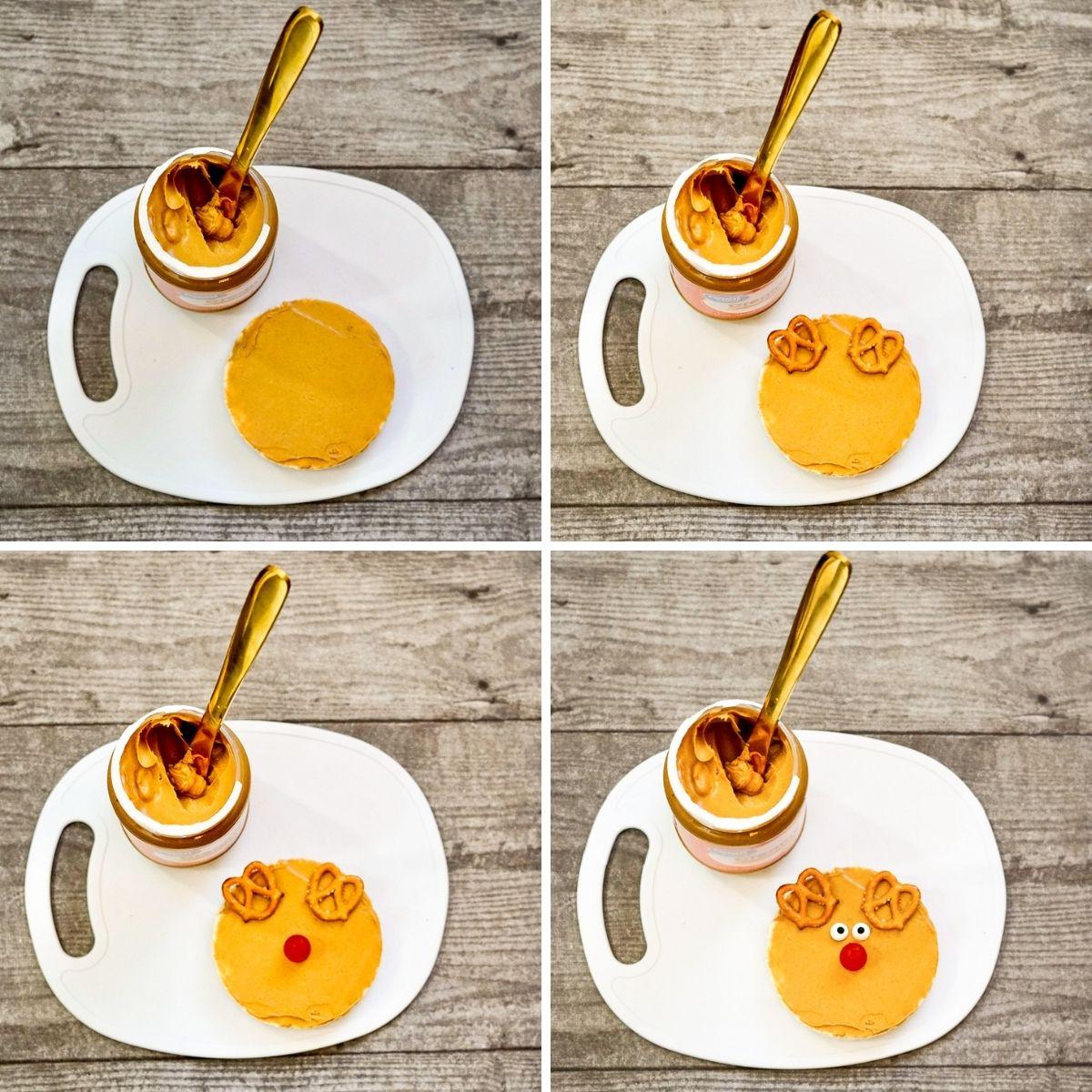 steps for how to make peanut butter rice cake snacks / Rudolph christmas snacks