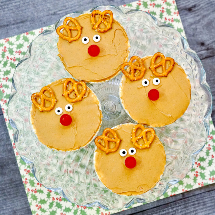Rudolph rice cakes - christmas toddler snack on a plate