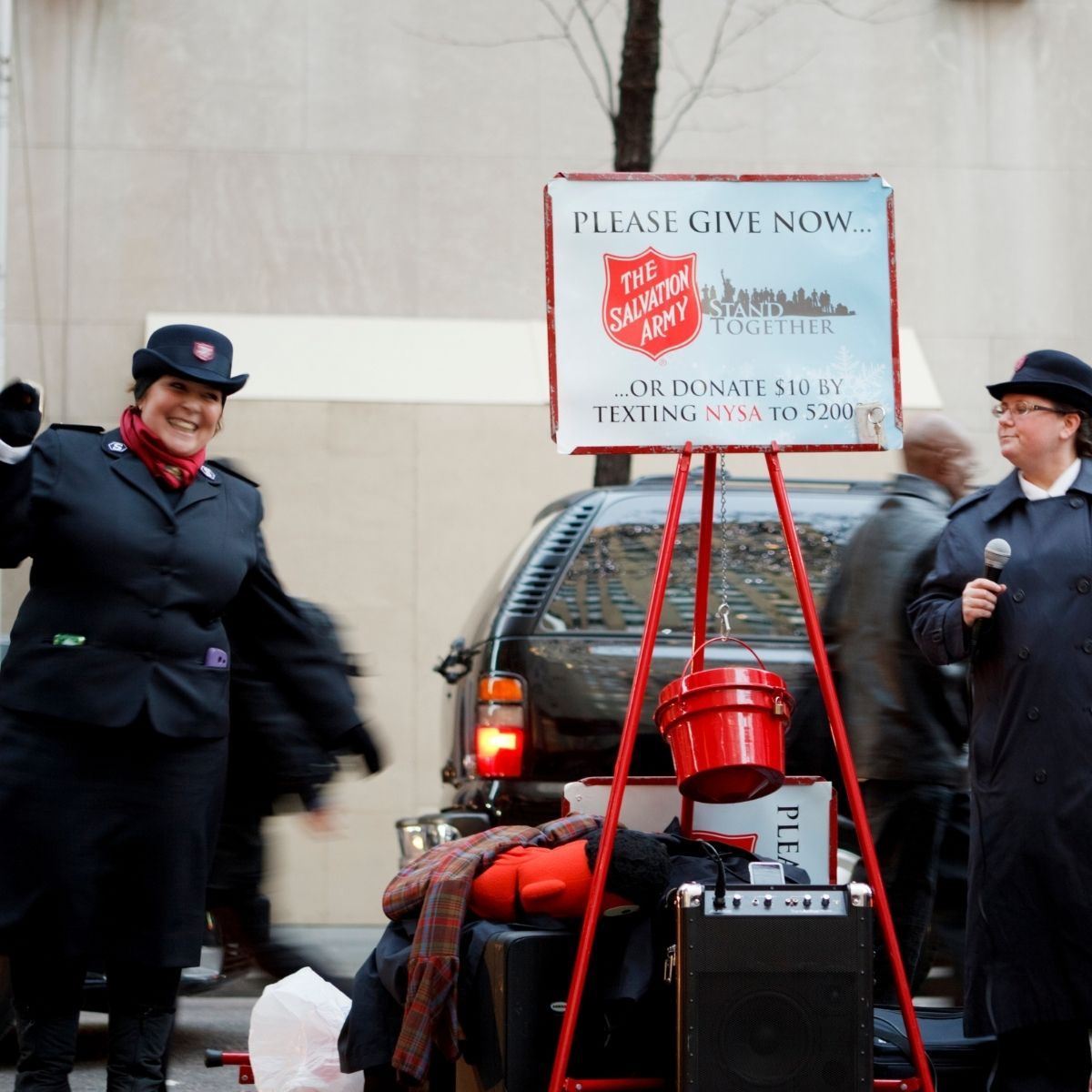 salvation army donation setup outside grocery store