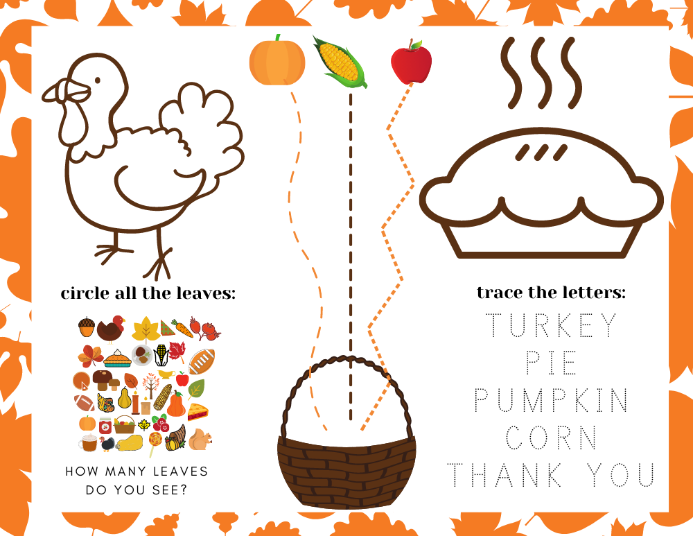 printable placemat for thanksgiving with thanksgiving toddler activities