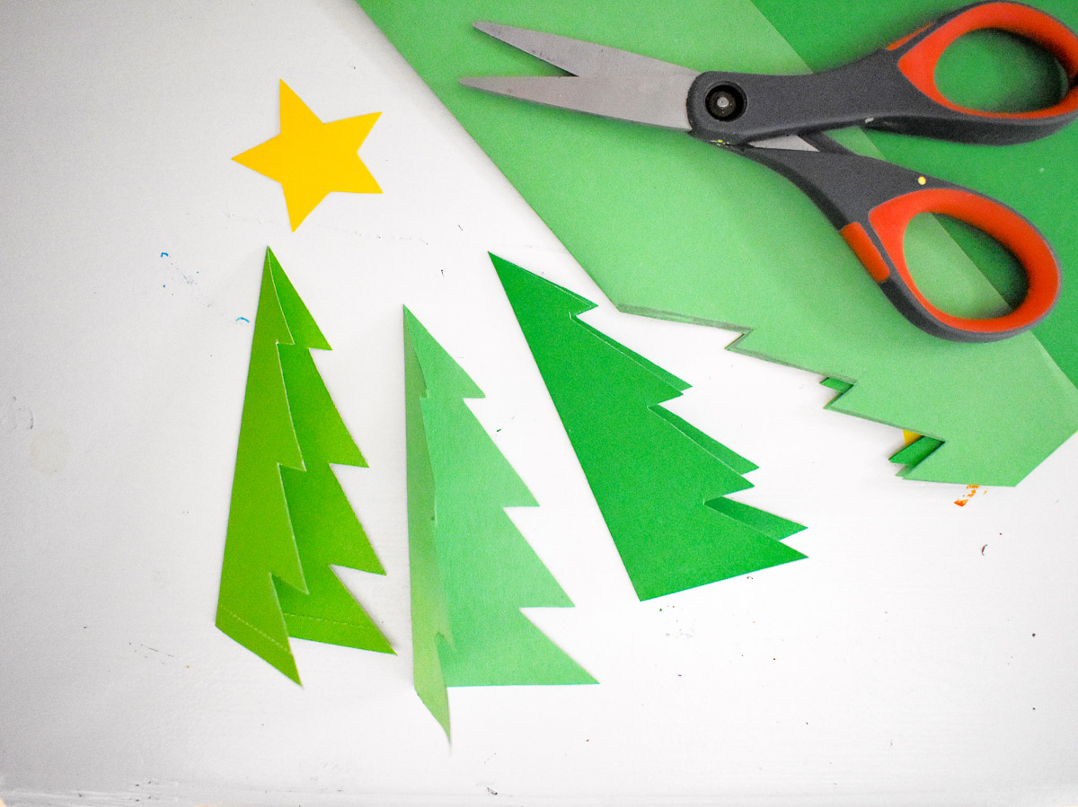 3 chrismas trees cut out from cardstock