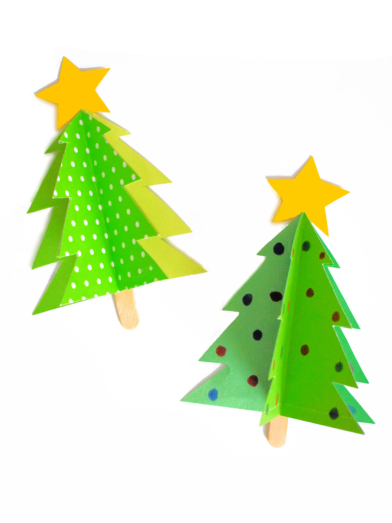 2 paper christmas trees - craft for toddlers
