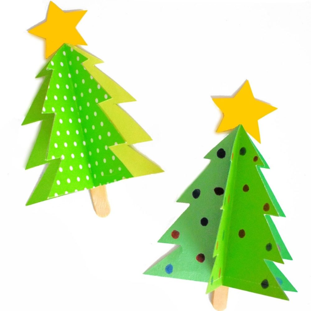 2 christmas tree paper crafts for kids