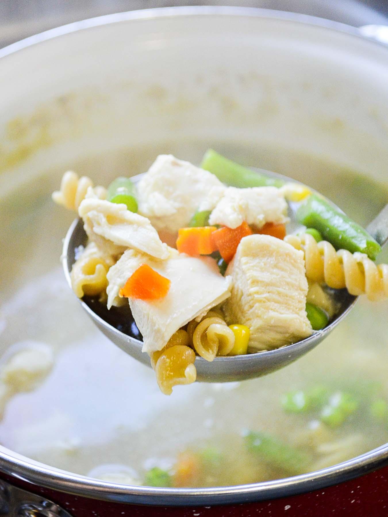 ladle of chicken noodle soup