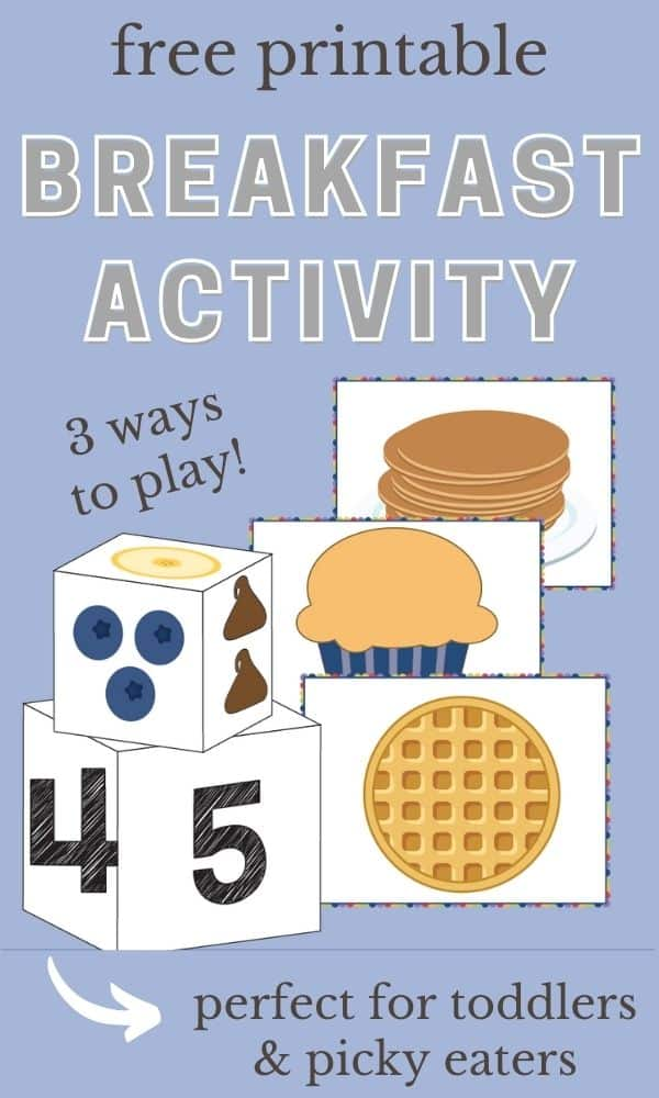 Pinnable image of free printable breakfast activity for toddlers.