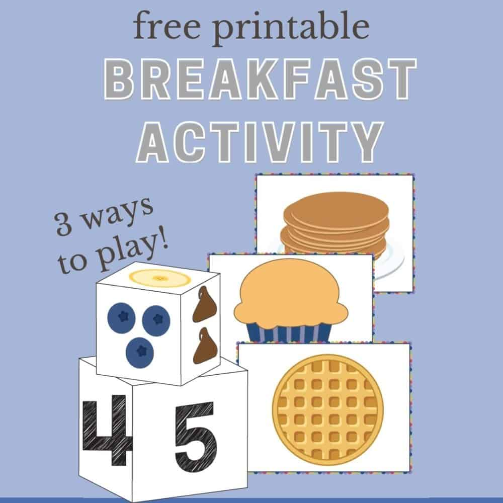 Graphic of free printable breakfast activity for toddlers.