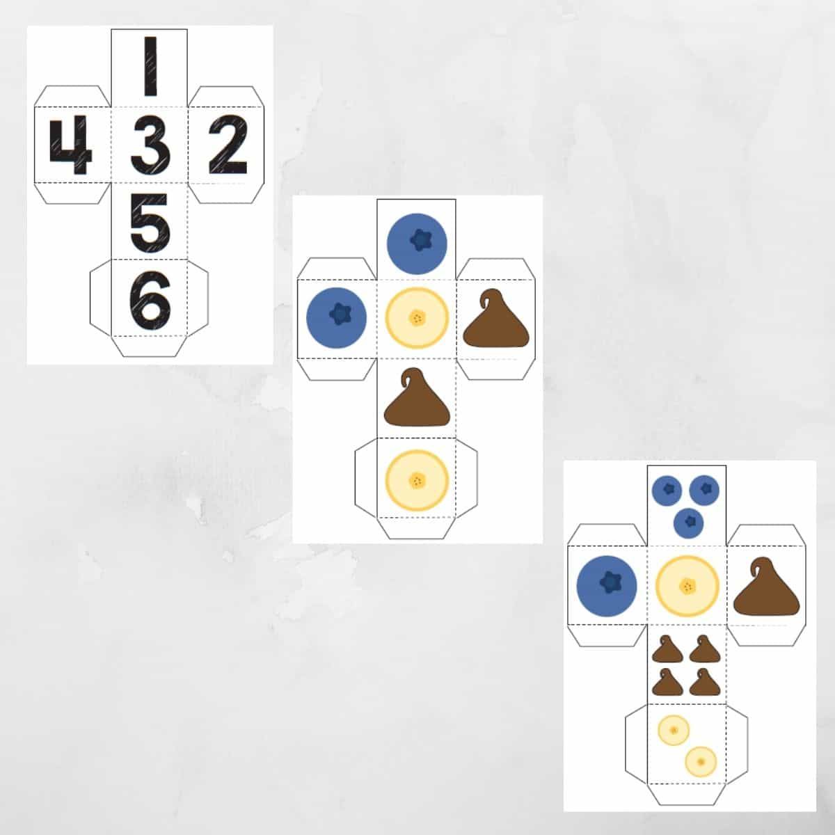 Image of printable dice for toddlers.