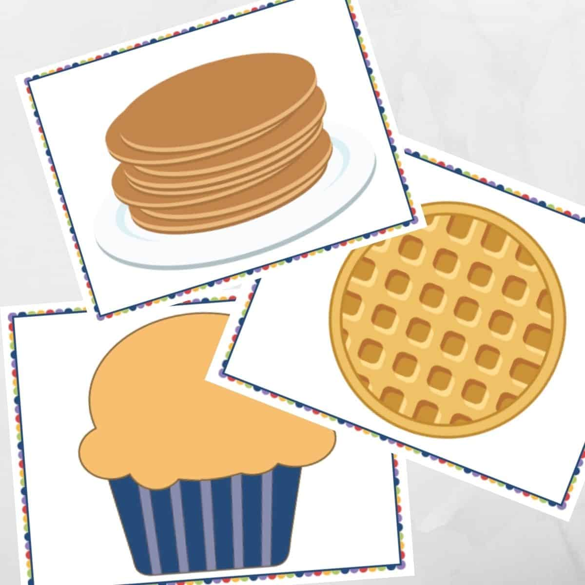 Image of pancake, waffle, and muffin printable pages.